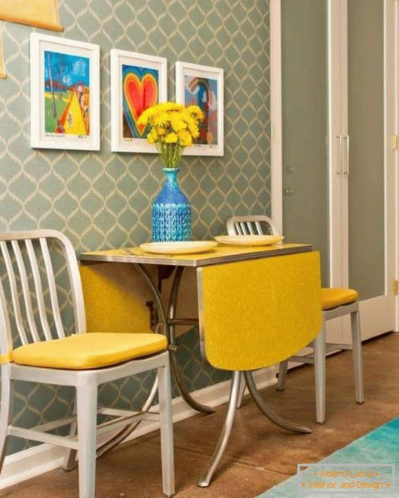 Yellow in the design of the dining room or the dining area of ​​the house