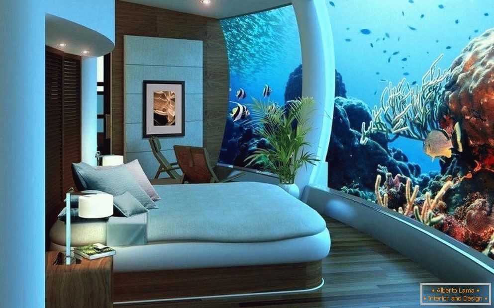 Aquarium on the whole wall in the bedroom