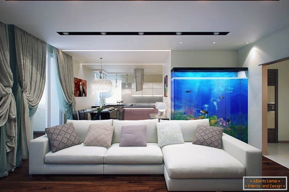 Beautiful interior of the living room with an aquarium