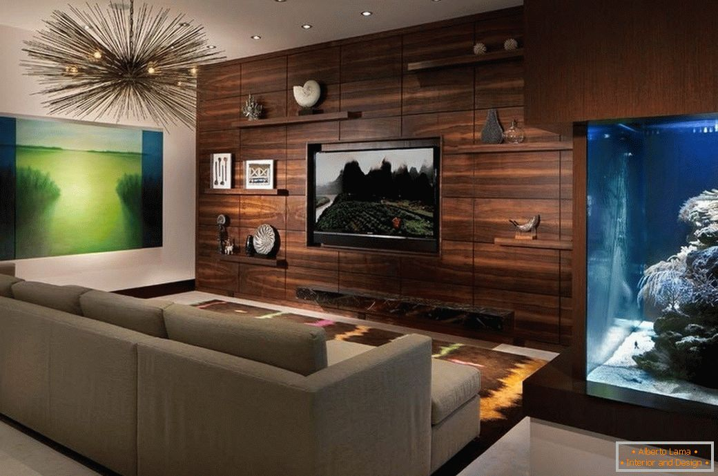 Wood in the living room decoration