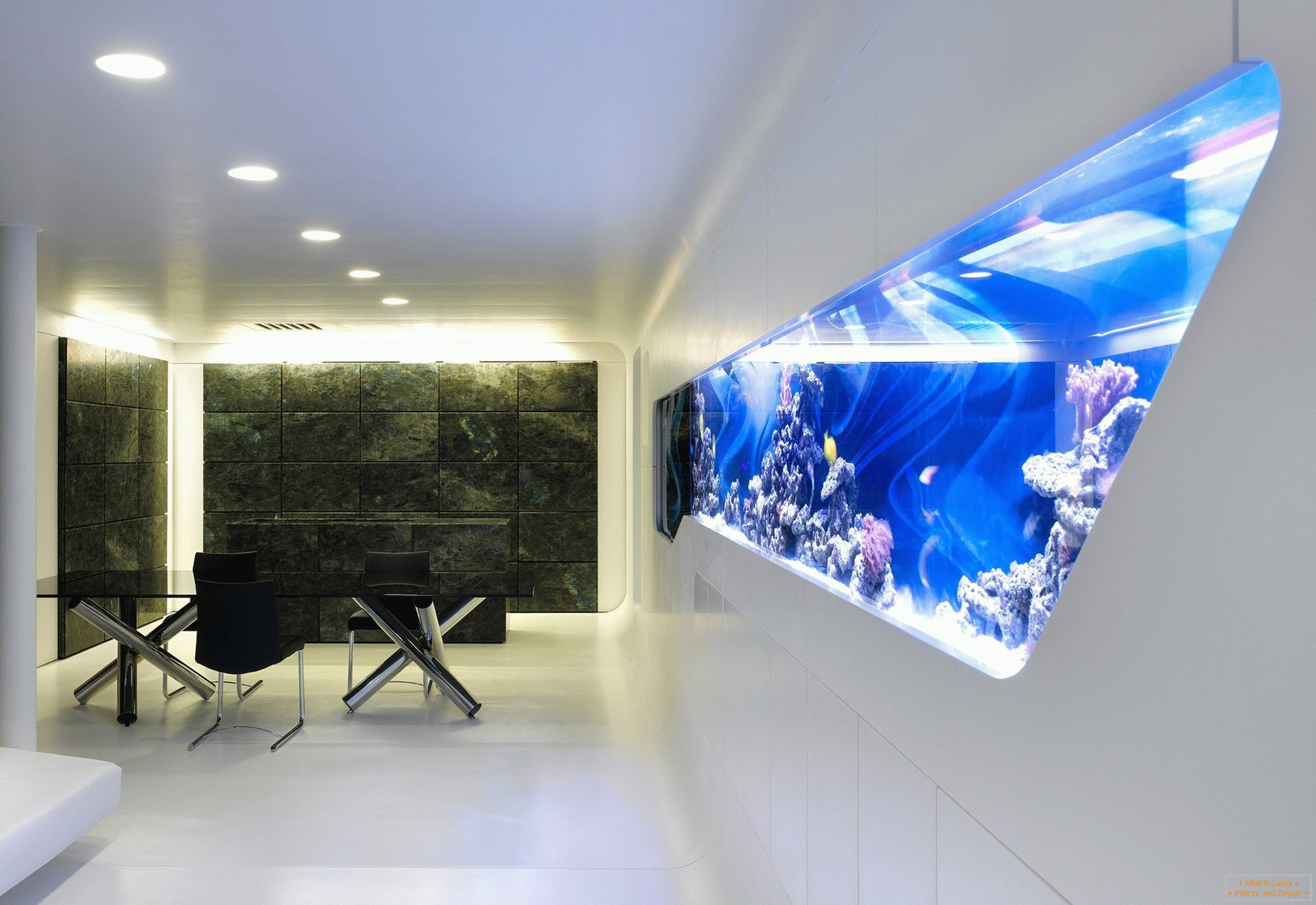 Modern interior with aquarium in the wall