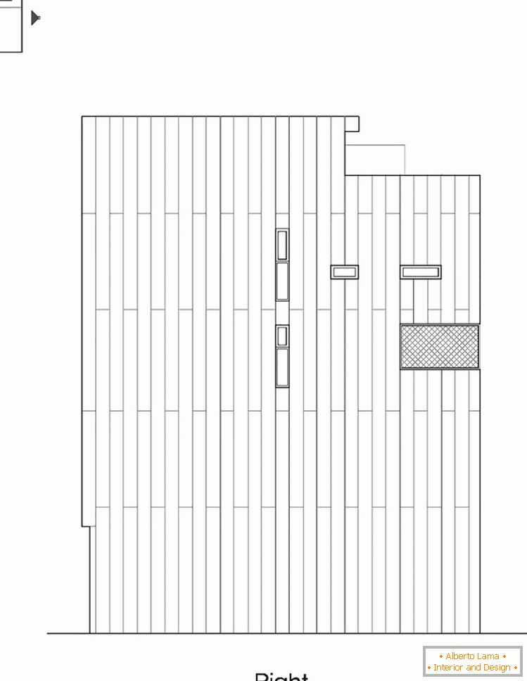 Project of the facade of a compact house