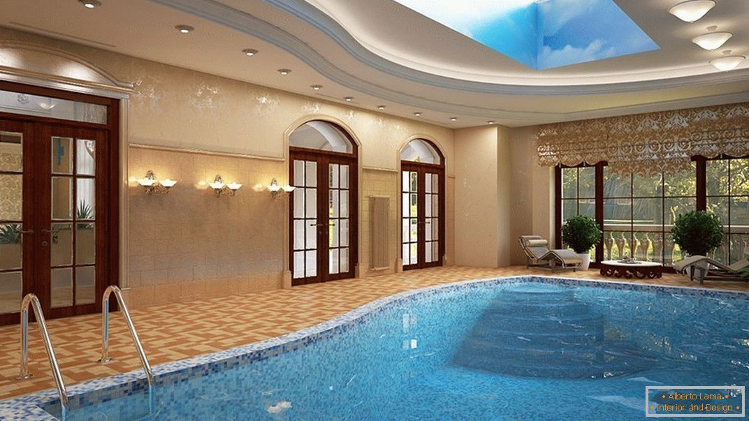 Deep indoor swimming pool