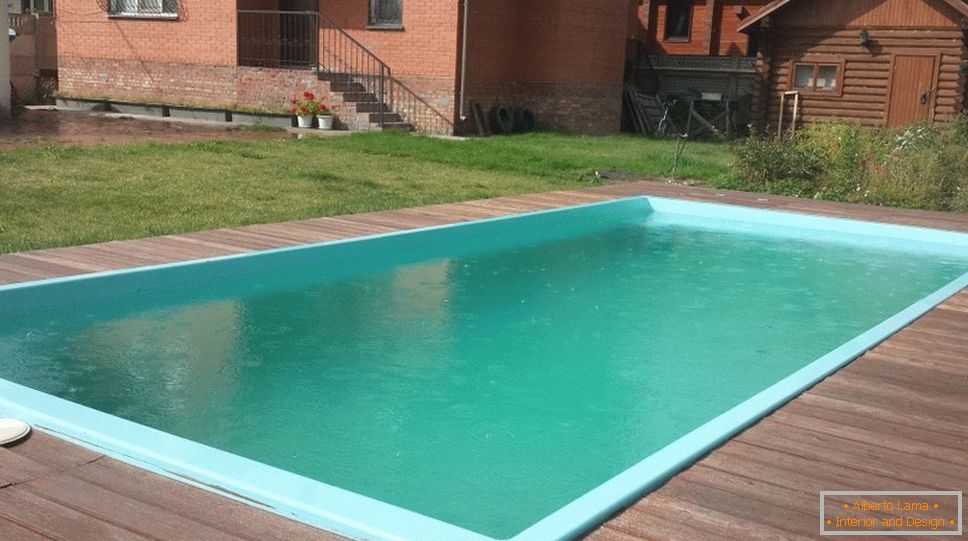 Rectangular swimming pool on the plot