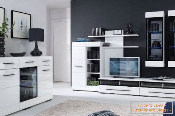 Modern living room furniture - white gloss on a black background