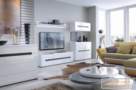White modular living room furniture in modern style