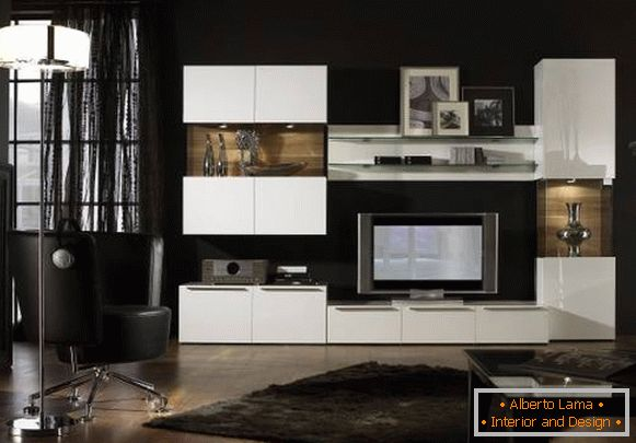 Black wallpapers for white modular furniture in the living room