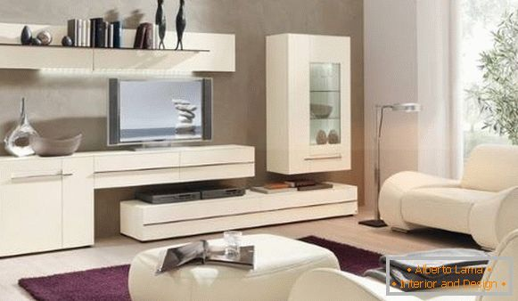 Modular white living room furniture in a modern style