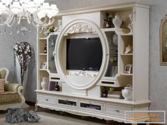 White furniture for the living room - photo walls in the classical style