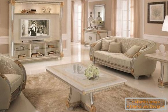 Classic design of the living room with white furniture - photo