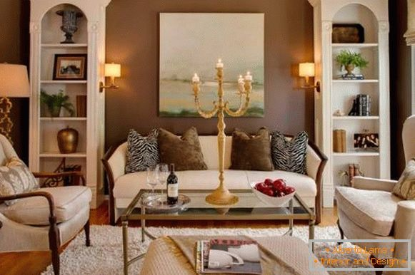Brown walls and white living room furniture