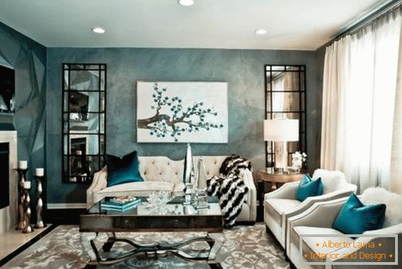 Chic design living room with white furniture - photo with blue