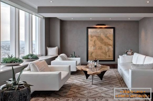 The design of the living room with white furniture - a photo with gray walls