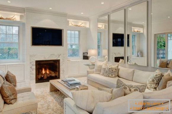 White furniture for the living room - photo of the elegant interior