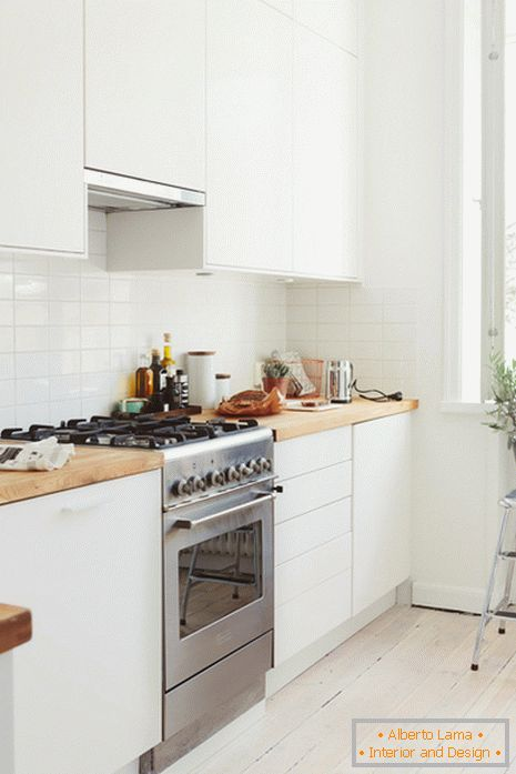 Kitchen interior in a small one-room apartment