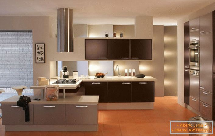 The room is in high-tech style with good lighting. & Great opportunities for a great kitchen (55 design ideas)