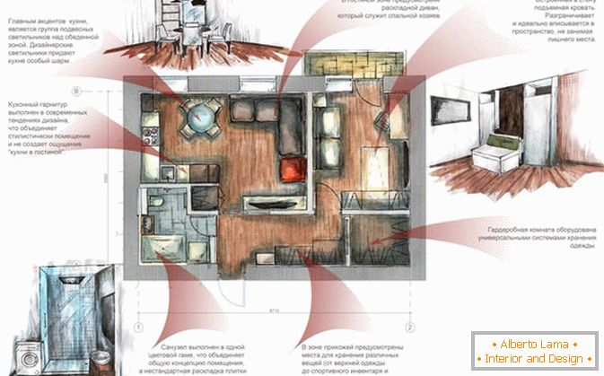 The layout of a small apartment in Russia