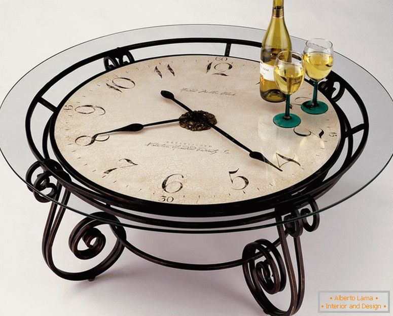 Table with countertop clock