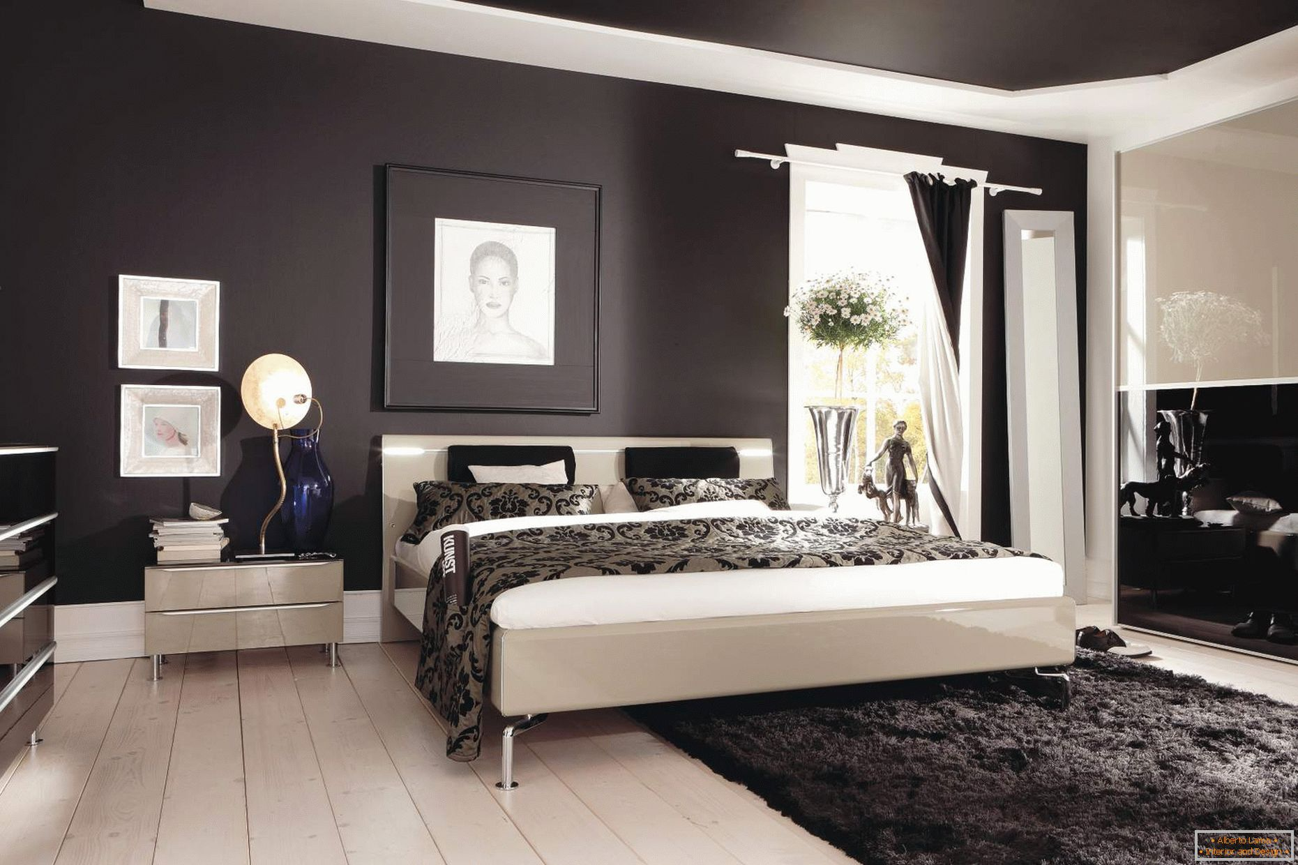 Black ceiling and walls in the bedroom