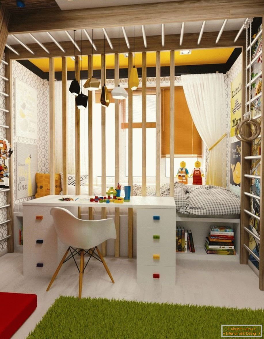 Zoning of a children's room in two parts