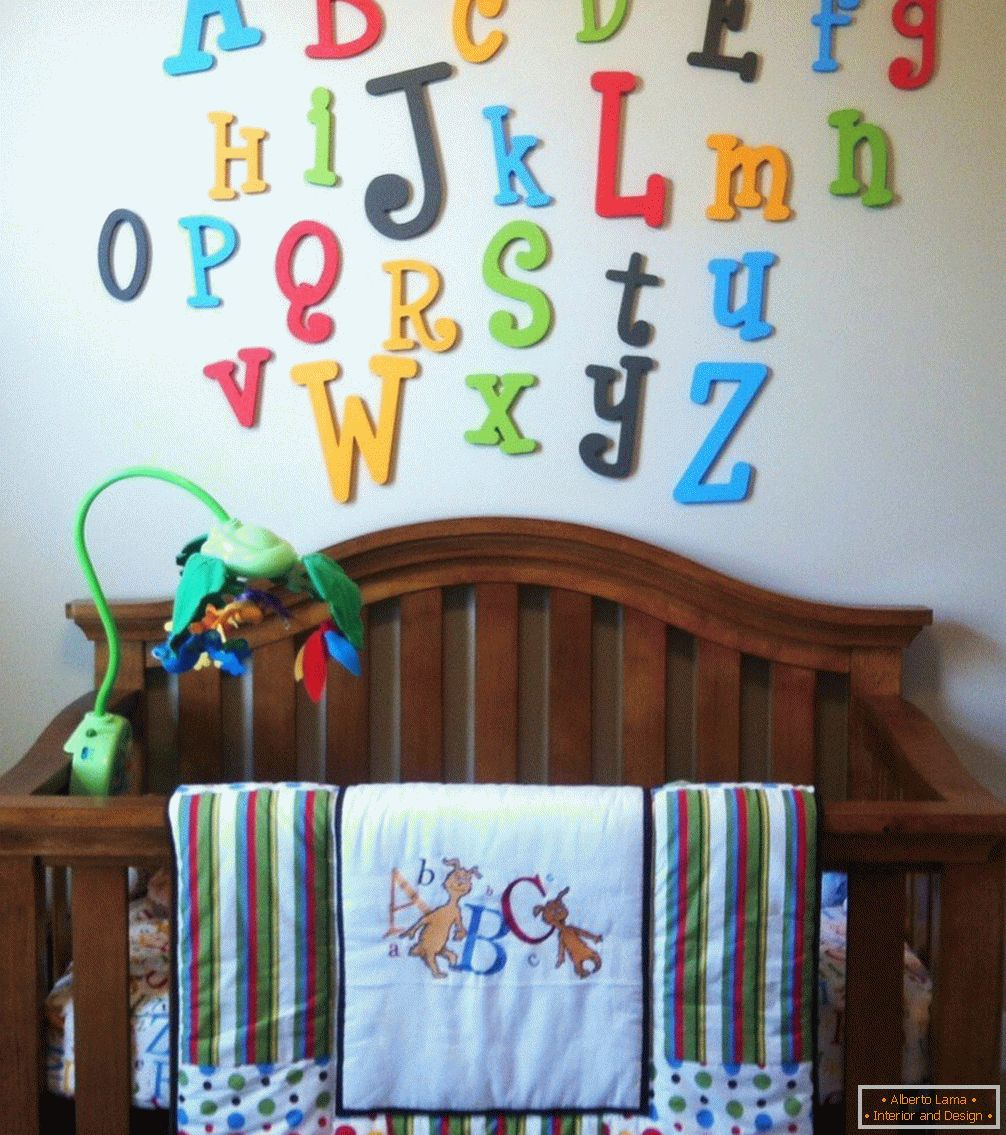 Adhesive letters on the wall