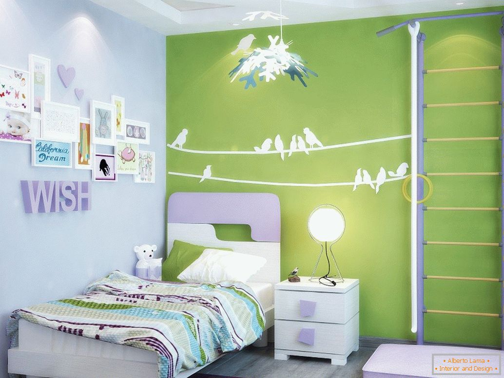 Decor of paper on the wall in the nursery