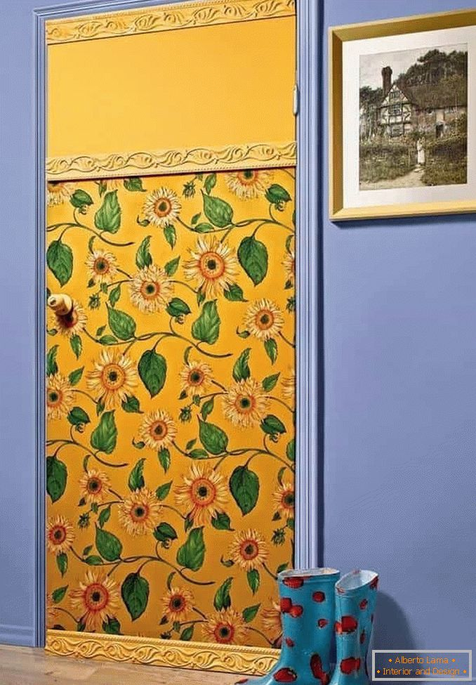 Door covered with wallpaper and baguette