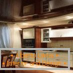Noble brown color stretch ceilings for the kitchen