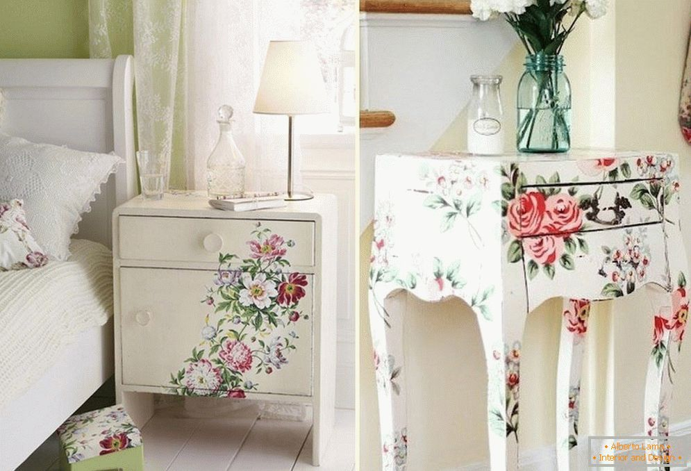 Beautiful decoupage of furniture