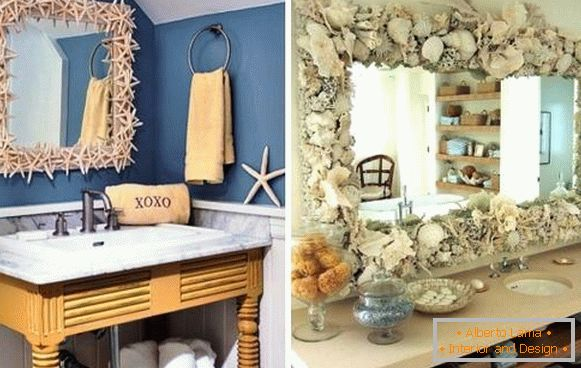 Bathroom decor with own hands - mirror decoration with seashells