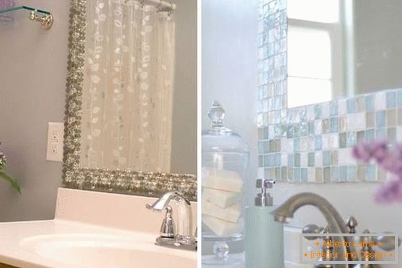 How to decorate the walls in the bathroom - the decor of the mirror is mosaic