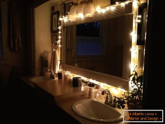 Bathroom decoration with LED garland