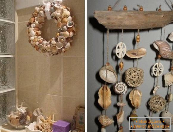 How to decorate the walls in the bathroom with cockleshells
