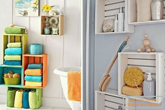 Bathroom decor with own hands - shelves from drawers