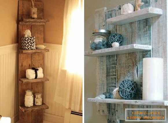 How to decorate a bathroom with beautiful wooden shelves