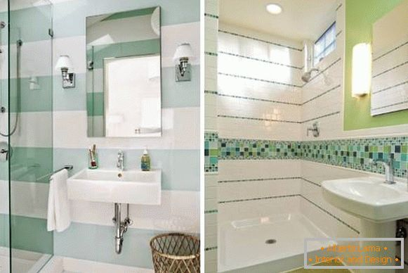 Decor bathroom tiles in white and green