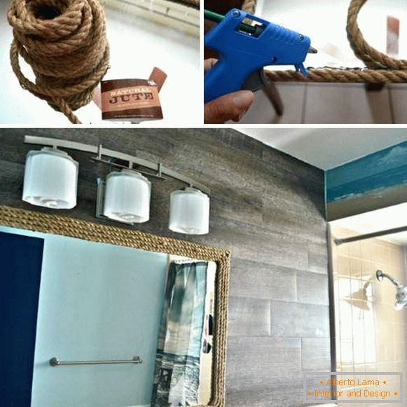 Decorating a bathroom mirror with your hands - photo step by step