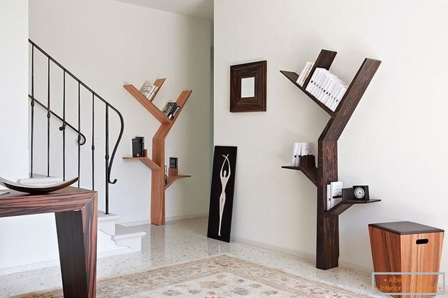 Shelves in the form of trees and twigs