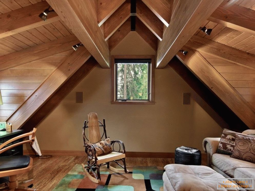 Wooden ceiling in the attic