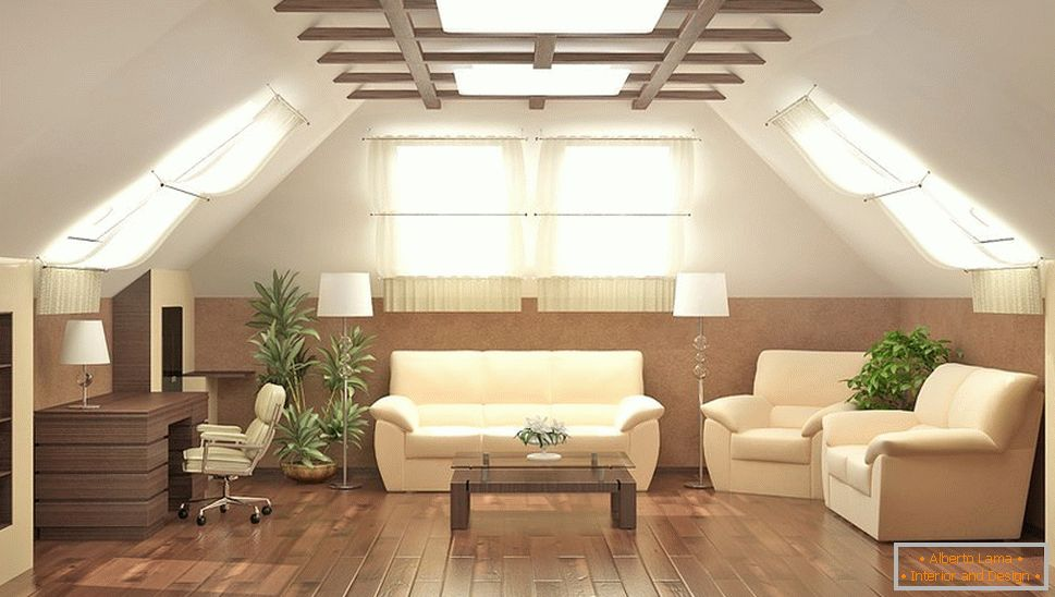 Ceiling decoration with wooden beams
