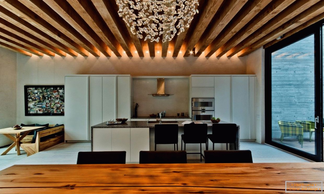 LED lighting on a wooden ceiling
