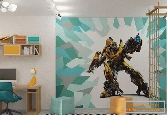 wall-papers transformers in a children's room, photo 2