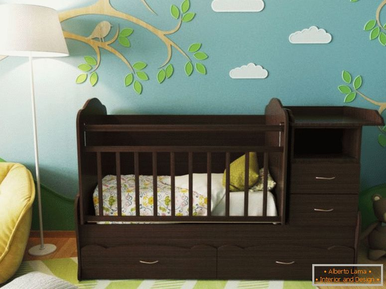 cot-for-newborn-with-a capacious-chest of drawers