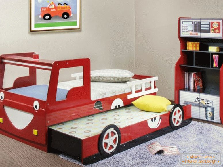 amusing-cool-kid-beds-design-with-red-wooden-laminate-fire-truck-equipped-sliding-and-storage-cabine childrens-beds home-decor target-home-decor-rustic-yosemite-decoration-decorators-outlet-and-fetco