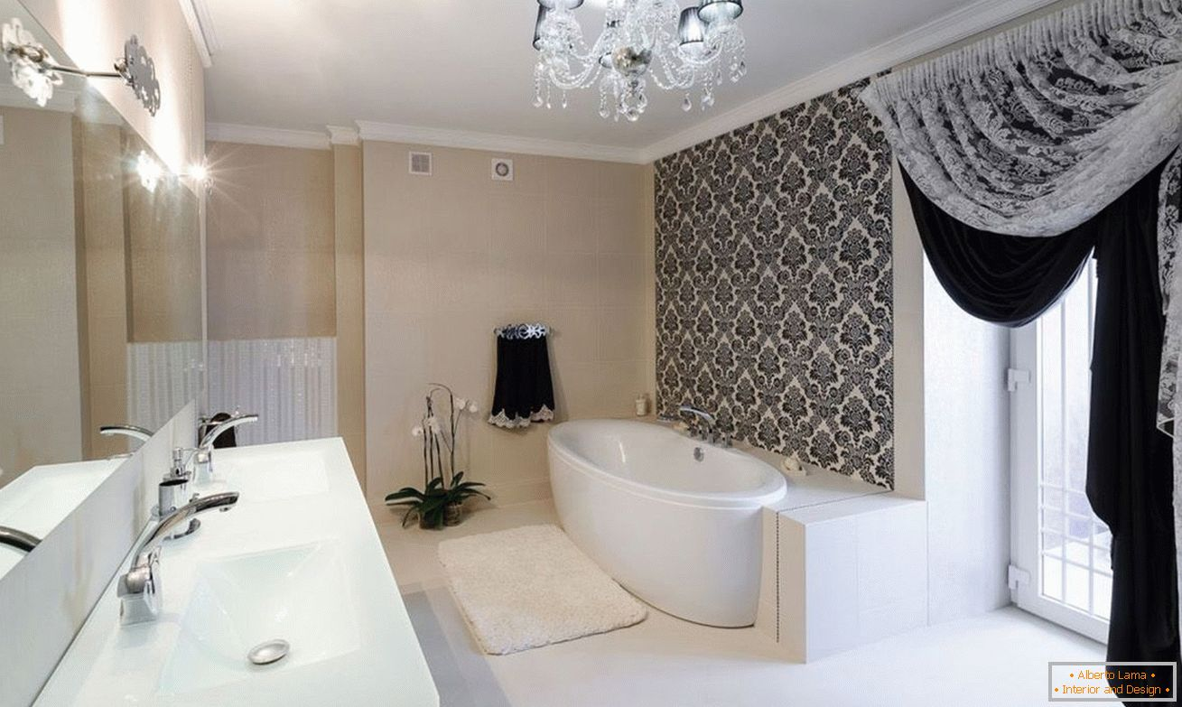 Decor of a black and white bathroom