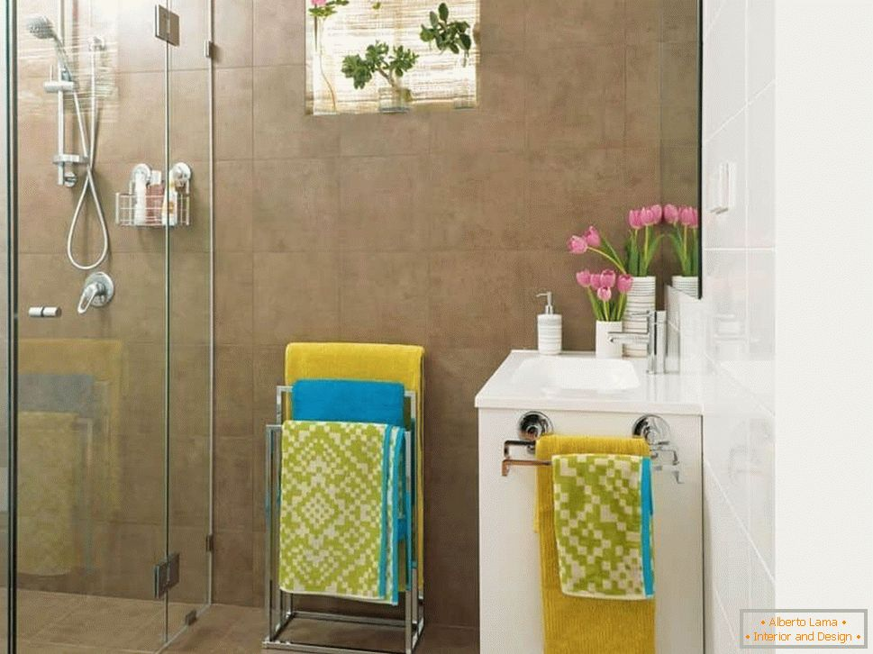 Interior design of a small bathroom without a toilet