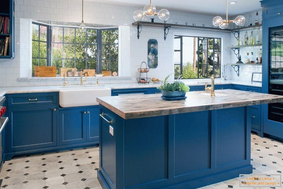 White and blue kitchen with island
