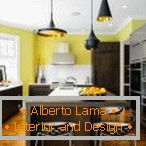 Kitchen with an island in yellow-brown colors