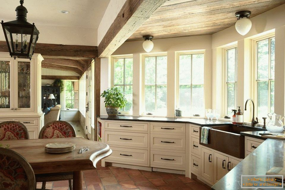Kitchen design located in a spacious bay window