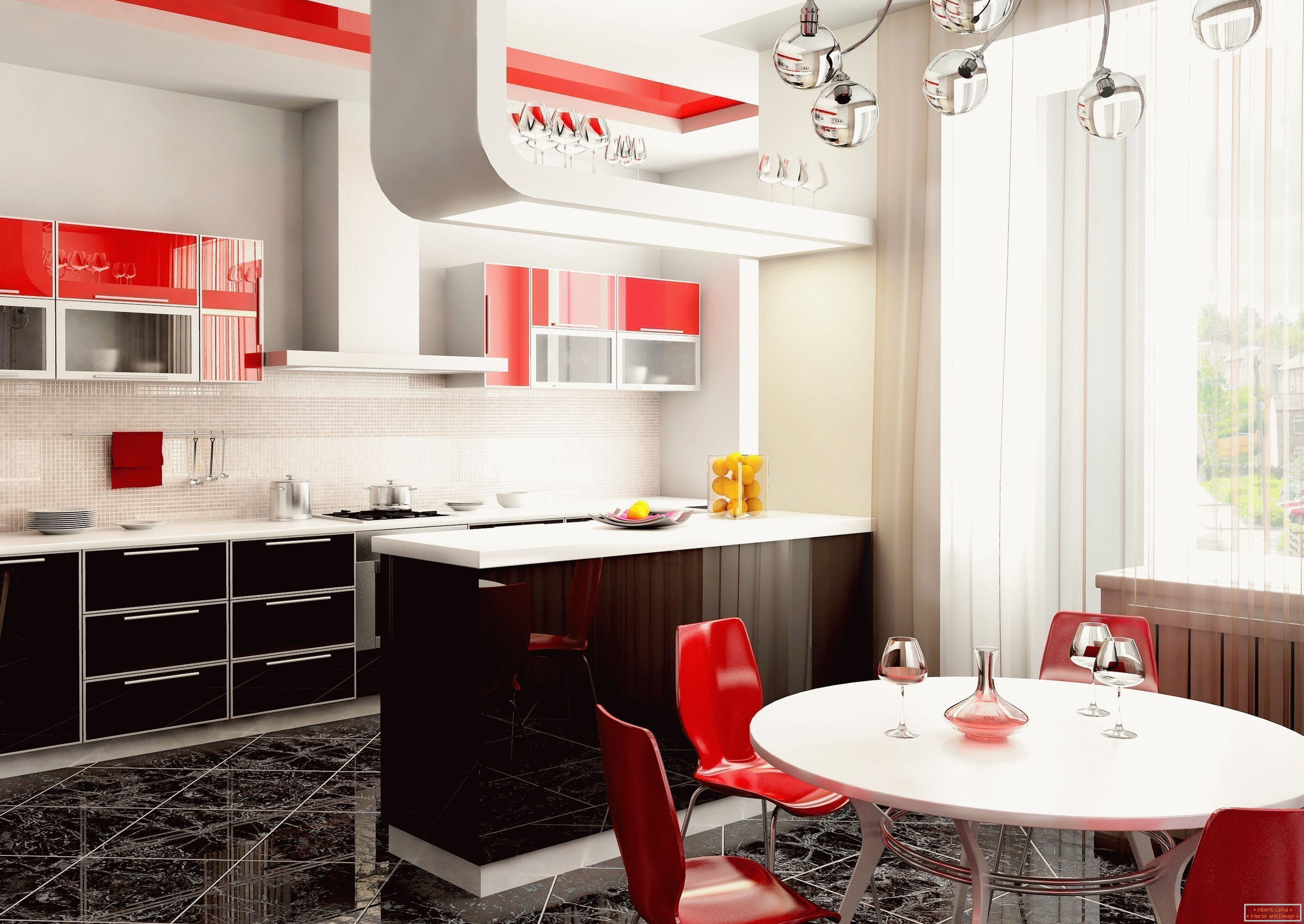 Bright interior of the kitchen in the apartment with red accents